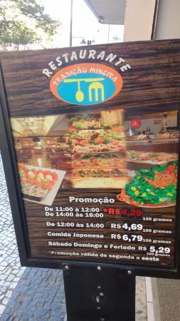 Restaurante Tradição Mineira: Valores promocionais