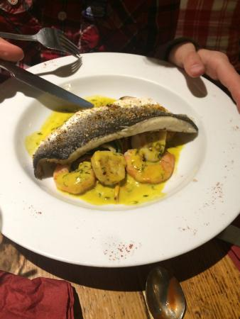 Uldale, UK: Cod with cheese, sea bass with saffron, steak,  pork belly