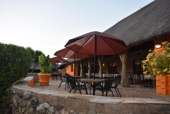 Kaoko Otavi, Namibia: Terrace outside restaurant (looked a lot better during the day than at dinner)