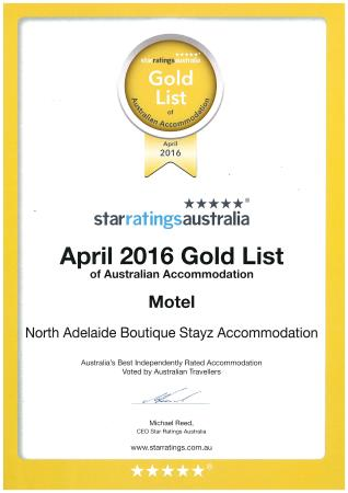 North Adelaide Boutique Stayz Accommodation: Number 1 on the 2016 Gold List Motel Category