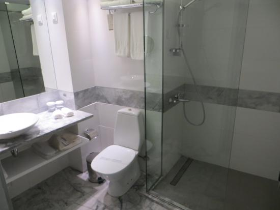 Herodion Hotel: clean, roomy bathroom, no tub but nice, hot shower