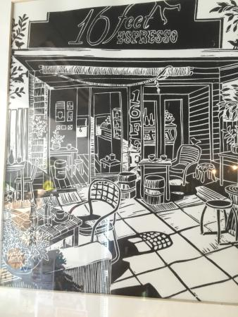 16 Feet Espresso: This is a drawing of 16 Feet Expresso. This picture is on the wall of the coffee shop.
