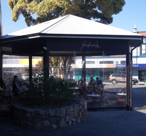 Outdoor eating area at Frederick's Cafe