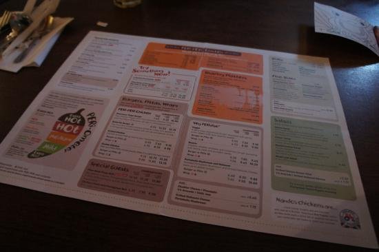 Nando's - Windsor: 餐廳的餐牌