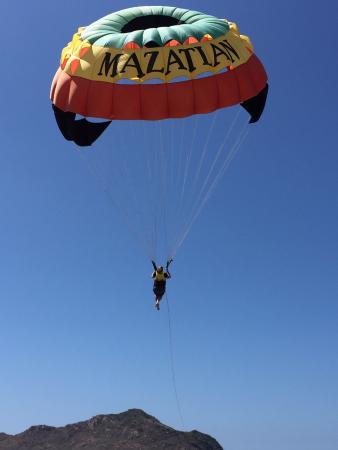 Aqua Sports Center and Scuba Dive: Shannon on her way up to enjoy a bird's eye view of Mazatlan!