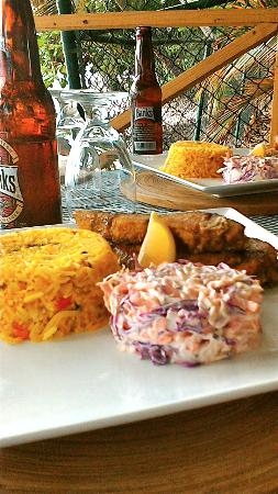 Weston, Barbados: Catch of the day, calypso rice and coleslaw.