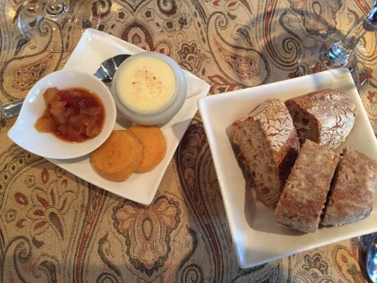 House-made cheddar pennies, pear chutney, sweet churned butter and sour dough bread