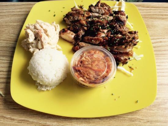 Hawaiian Style Bbq: Regular Hawaiian BBQ Chicken - Teriyaki; with Mac Salad, Kimchi, and Rice - Super delish
