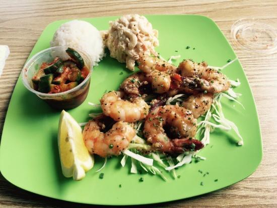 Hawaiian Style Bbq: Regular Garlic Shrimp with Mac Salad, Kimchi, and Rice - Super delish