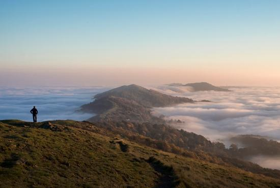 Great Malvern, UK: Worcestershire Beacon above the clouds