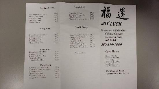 Port Hadlock, Вашингтон: Joy Luck Menu Front Page - 2016.05.11