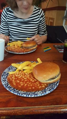 The Trawl Boat Inn: childrens burger chips and beans with a drink £3.99