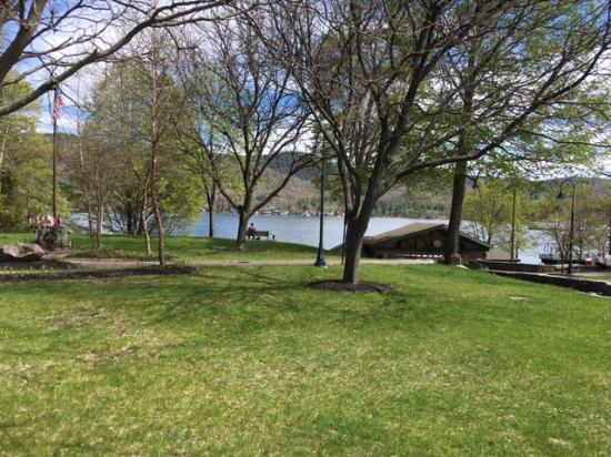 Lake George: View of park from beach