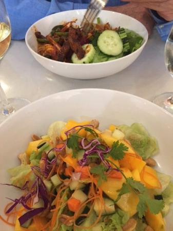Thai Sweet Basil: Beef salad at top was spicy and good, mango-cucumber salad at bottom was crisp and flavorful..