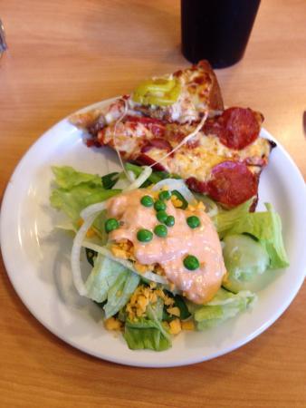 Viroqua, WI: Tasty pizza and salad.