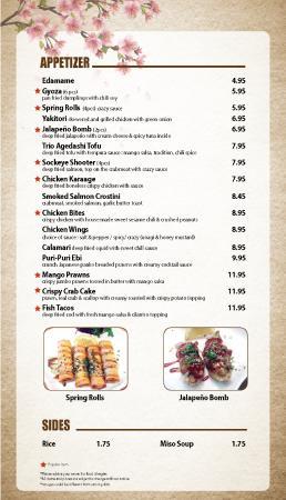 Courtenay, Canadá: Osaka Sushi new menu