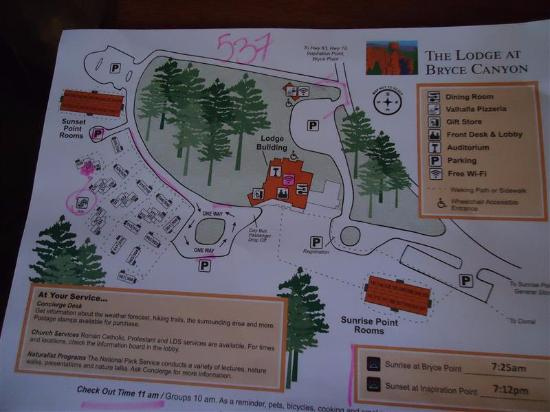map given to us at checkin Picture of The Lodge at Bryce Canyon