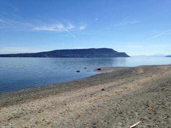 Denman Island, Canadá: Beach looking out at Hornby Island....