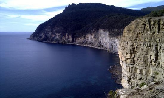 แทสมาเนีย, ออสเตรเลีย: Sea cliffs on the way up Bishop and Clerk
