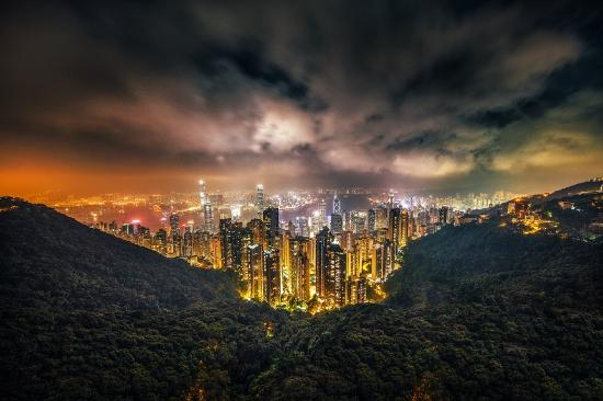 Hong Kong, China: The beautiful skyline surrounded by the green.