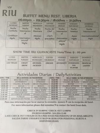 Hotel Riu Guanacaste Buffet Menu Show Schedule Daily Activities List