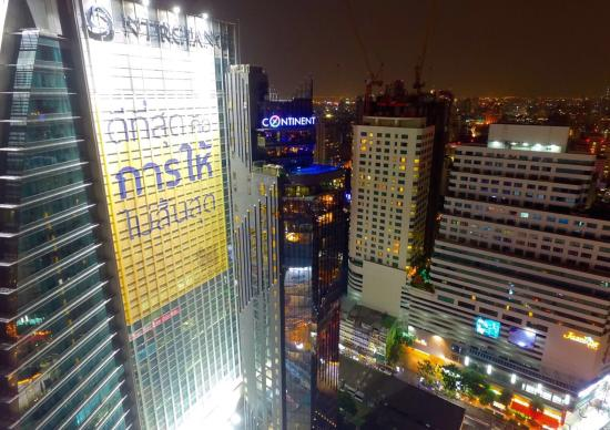 The Continent Hotel Bangkok by Compass Hospitality: Exterior by Drone night time
