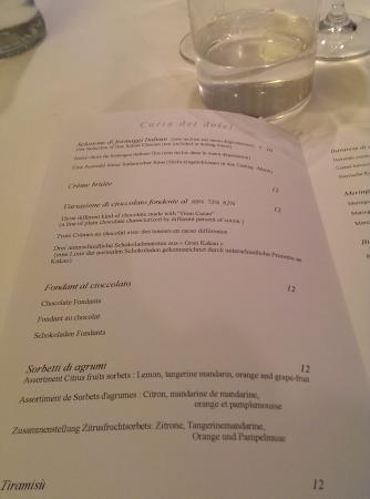Ristorante Romano: Меню десерты