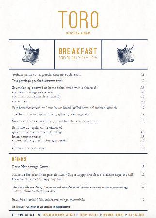 Toro breakfast menu - Picture of Toro Kitchen and Bar, Queenstown ...