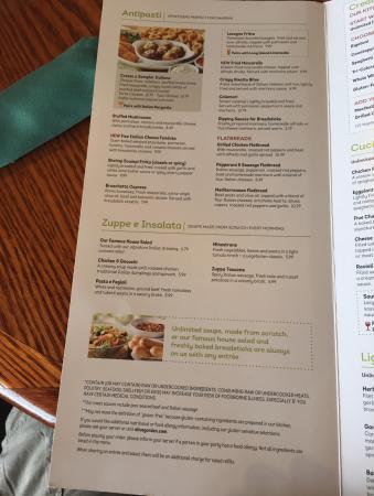 Menu Picture Of Olive Garden Amherst Tripadvisor