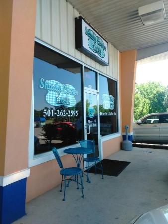 front of this small cafe. - picture of shady corner cafe, hot