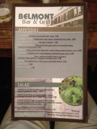 The Belmont Port Colborne: Menu