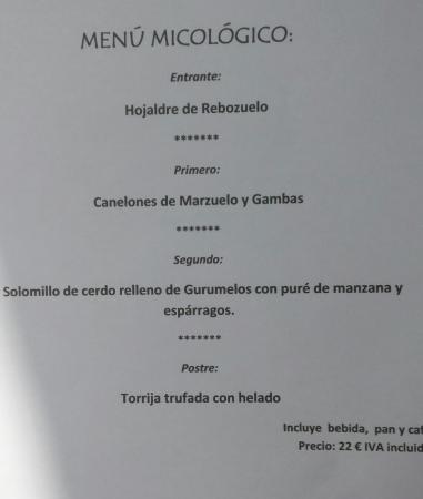 Gea de Albarracin, Spanien: menú micológico