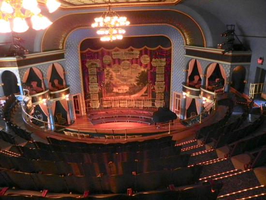 Stoughton Opera House : The opera house stage with turn curtain down!