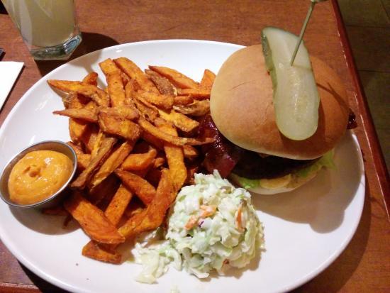 White Spot Restaurants Ltd: Hawaiian Burger with sweet potato fries.