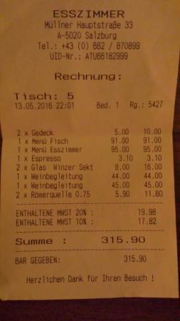 Rechnung Bild Von Restaurant Esszimmer Salzburg Tripadvisor