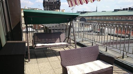 Balcony seating room 711 picture of grand hotel for Grand hotel bohemia prague reviews