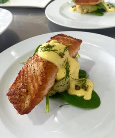 Laggan Pantry: Pan seared Salmon served on dill and chat potato smash, lemon hollandaise and crispy capers - wi