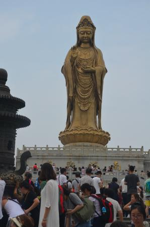 "Zhoushan Putuo Liuheng Island: Guanyin Statue, here called ""Unwilling to Leave"" Guanyin. History says it is 916 that the temple"