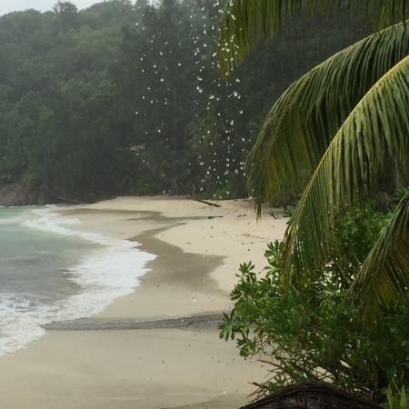 Anse Soleil Beachcomber: Anse Soleil sotto l'acquazzone