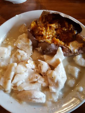 Cracker Barrel: Chicken and Dumplings with Sweet Potatoe