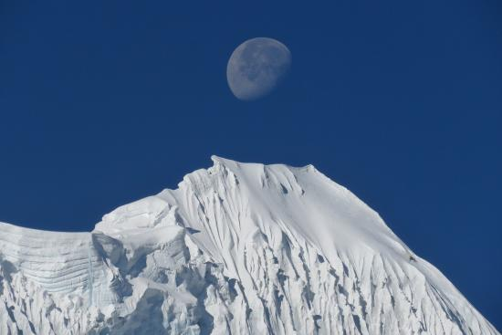 Kangchenjunga Region, Nepal: Moon with Top Peak of Kanchenjunga