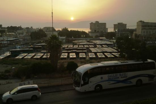 Restal Hotel: Sunrise over the bus station and out over the Sea of Galilee to the Golan heights