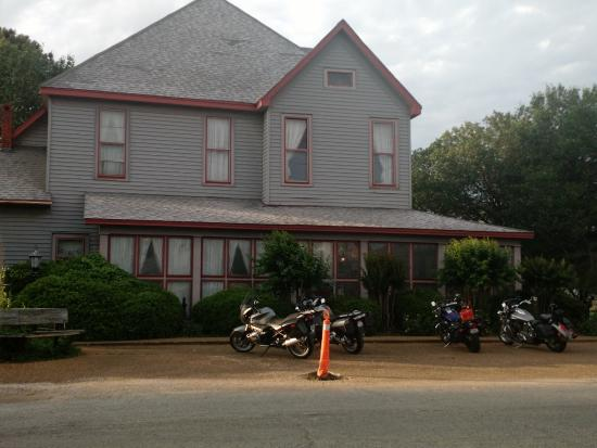 Houston, MS: our four motorcycles in front of Bridges hall