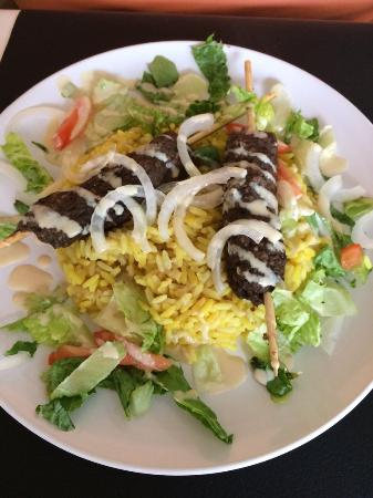 Nawal's Mediterranean Eatery: Kofta served over Saffron Rice w/ Veggies and house made Tahini Sauce