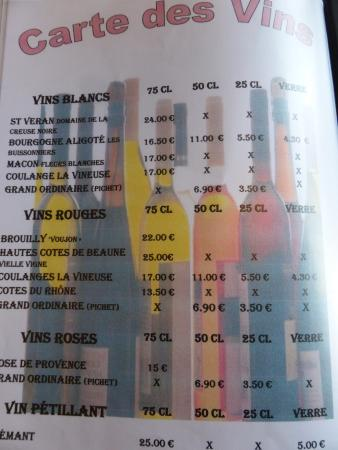 Clamerey, France: carte des vins