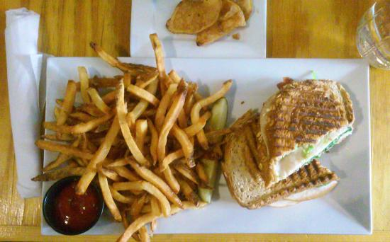 Native Kitchen & Social Pub: Panini with turkey, bacon, avocado and spinach and side of fries
