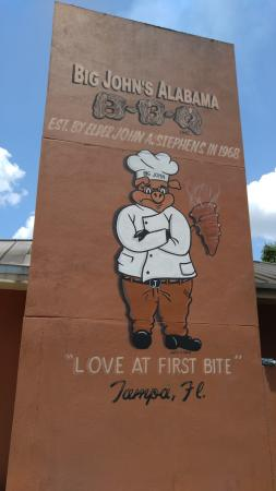 Big John's Alabama BBQ: The painting is on the south side of the building on the chimney.