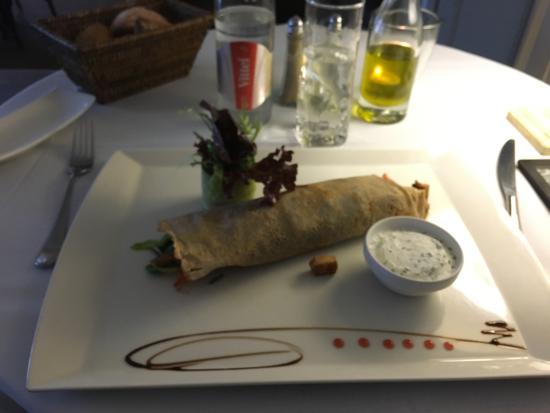Brasserie du Kirchberg: Galette de sarrasin aux légumes, tofu et champignons.