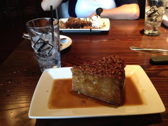 Zea Rotisserie & Bar: Sweet Potato Pecan Bread Pudding (in front), and the fantastic Chocolate Caramel Brownie.