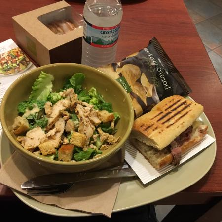 Panera Pick 2 Chicken Caesar Salad and Steak and white cheddar panini - Picture of Panera Bread ...
